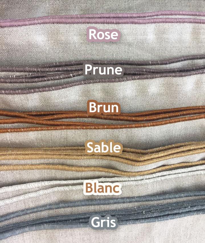 différents coloris pour les serviettes de table en chanvre