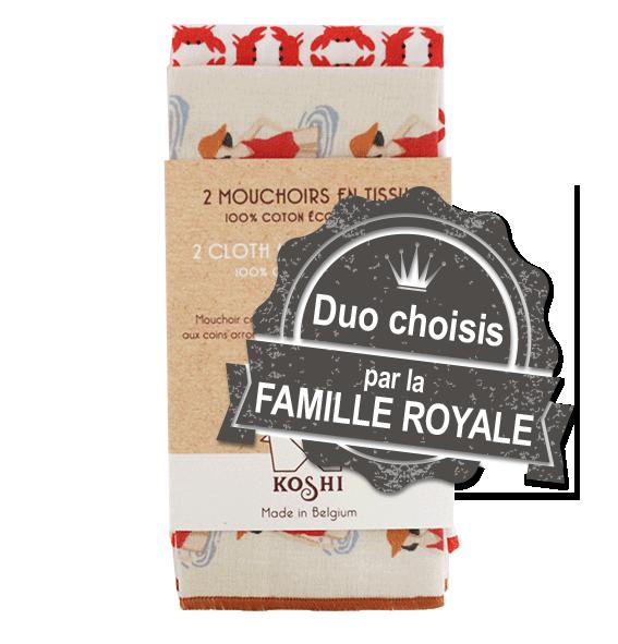 Mouchoirs  koshi choisis par famille royale pour le royal tote bag