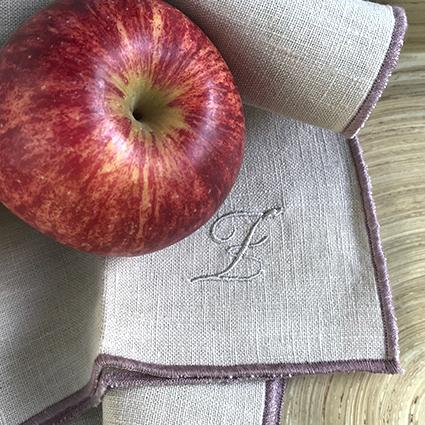 serviette de table koshi surjet rose