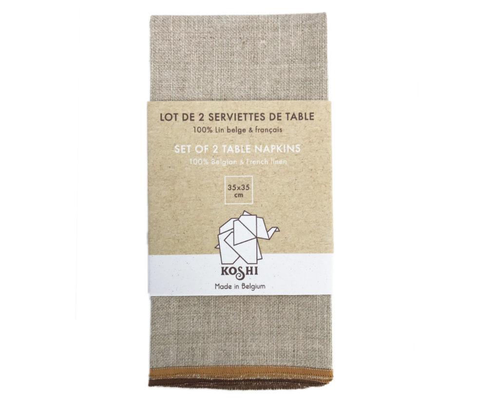 serviettes de table en lin Koshi